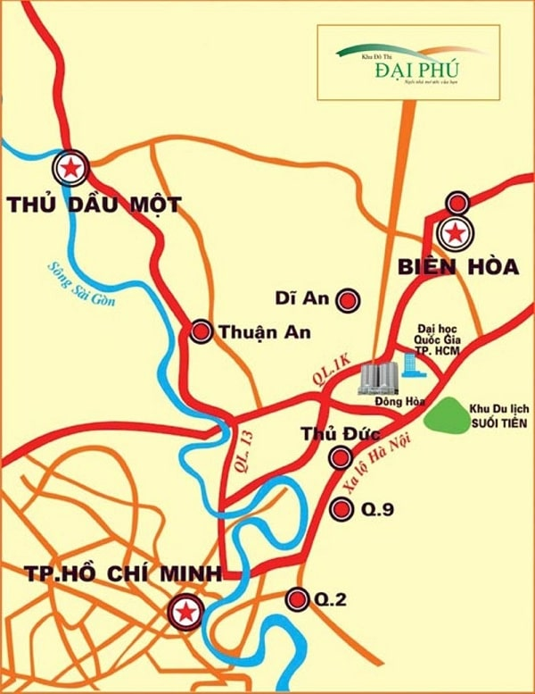 Vị trí dự án khu đô thị Đại Phú, Bình Dương