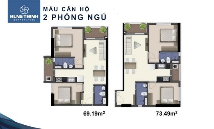 Mẫu căn hội 2 phòng ngủ tại dự án Thi Sách Apartment