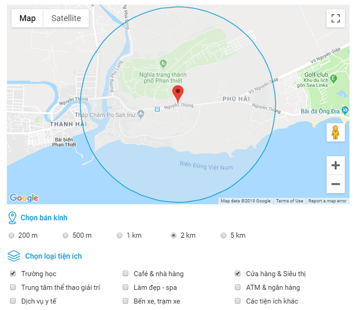 Vị trí Khu đô thị QEEN PEARL MARIA COMPLEX tại Lagi, Bình Thuận