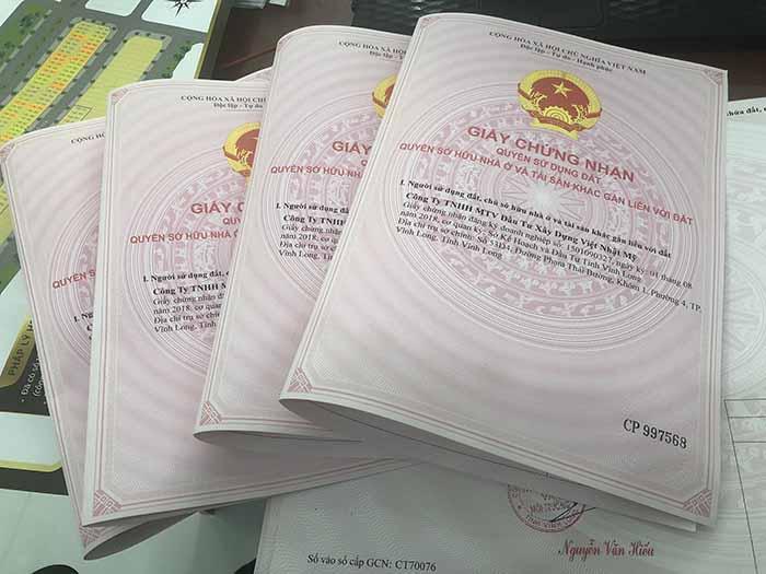 Sổ đỏ được cấp cho các lô đất nền Hưng Thịnh Vĩnh Long
