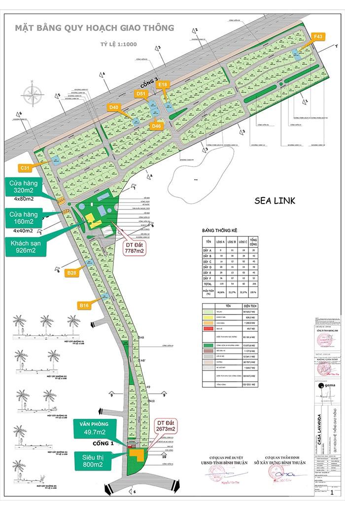 Mặt bằng dự án biệt thự nghỉ dưỡng Diamond Bay Phan Thiết
