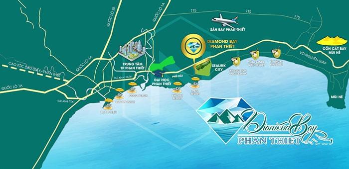 Vị trí biệt thự nghỉ dưỡng Diamond Bay Phan Thiết