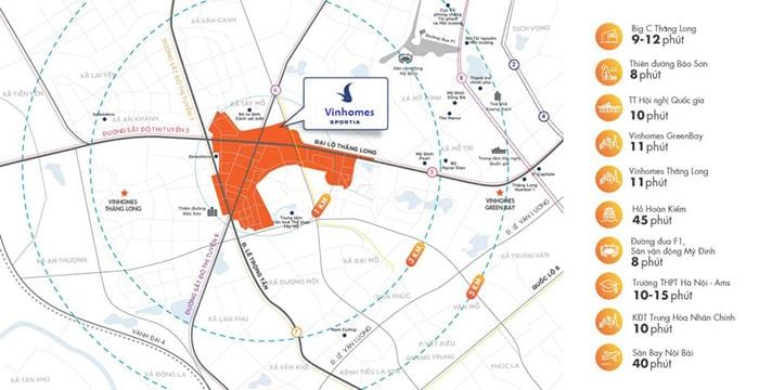 Vị trí dự án Vinhomes Smart City Đại Mỗ Tây Mỗ
