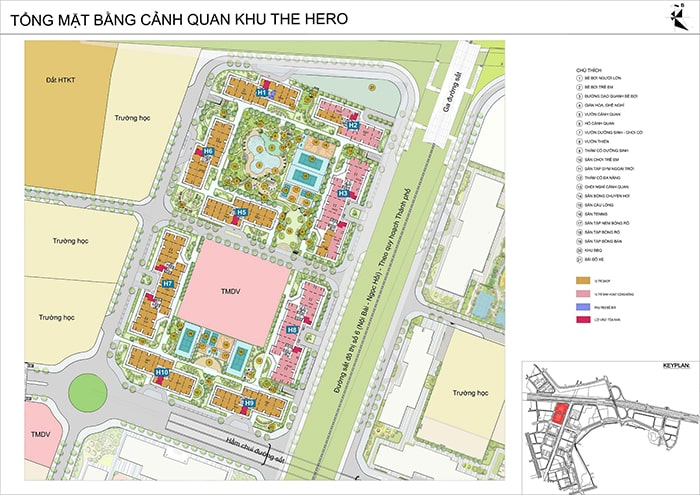 Tổng quan mặt bằng phân khu Hero dự án Vinhomes Smart City