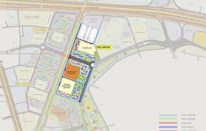 Mặt bằng phân khu Dream dự án Vinhomes Smart City