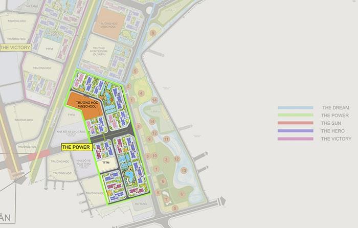 Mặt bằng phân khu Power dự án Vinhomes Smart City