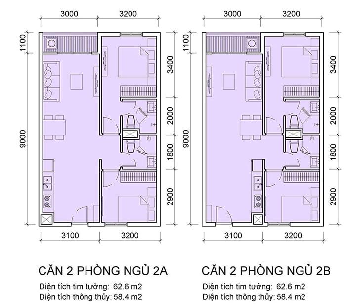 Căn 2 phòng ngủ tại Chung cư FLC Hà Khánh