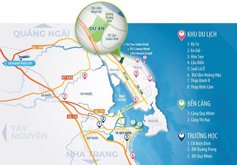 Vị trí dự án khu đô thị sinh thái Nhơn Hội trên bản đồ