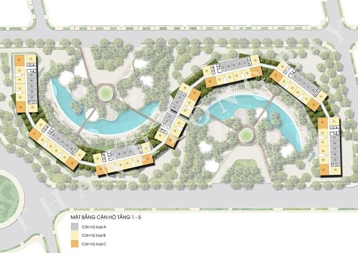 Mặt bằng tầng 1 – 5 Block Căn hộ Sky Garden