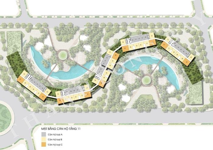 Mặt bằng tầng 11 Block Căn hộ Sky Garden