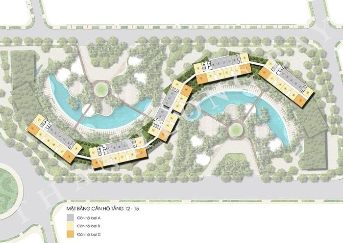 Mặt bằng tầng 12-15 Block Căn hộ Sky Garden