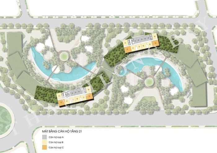 Mặt bằng tầng 21 Block Căn hộ Sky Garden
