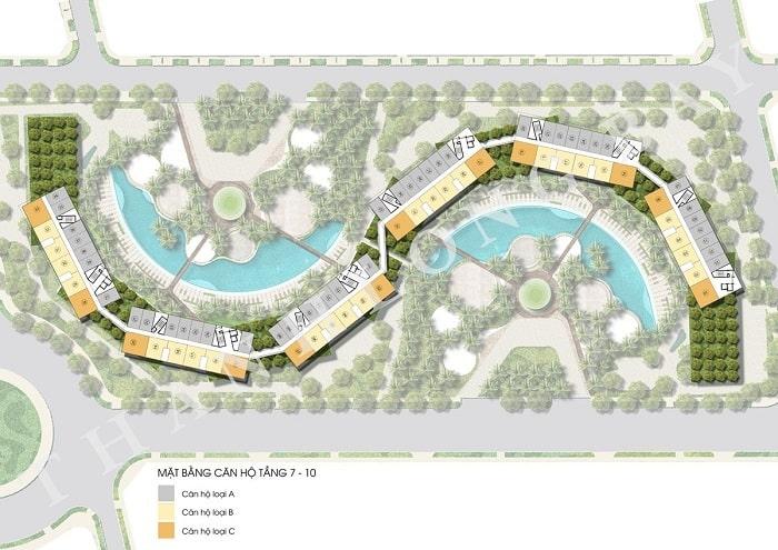 Mặt bằng tầng 7-10 Block Căn hộ Sky Garden