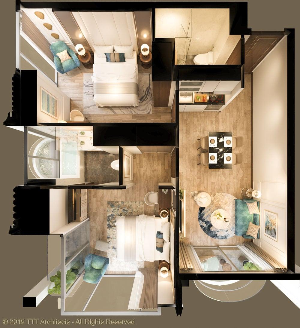 Mặt bằng căn hộ mẫu 2 tại dự án The Sóng
