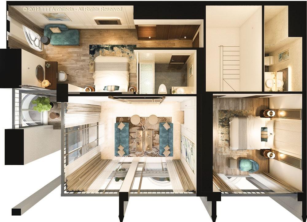Mặt bằng căn hộ mẫu 1 tại dự án The Sóng
