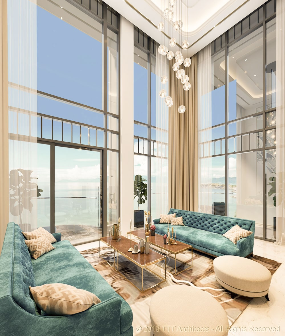 Phòng khách căn hộ mẫu tại dự án The Sóng