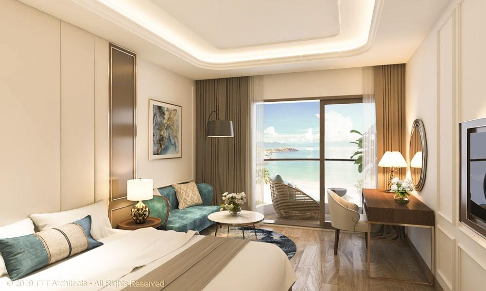 Phòng ngủ tại nhà mẫu Condotel The Sóng