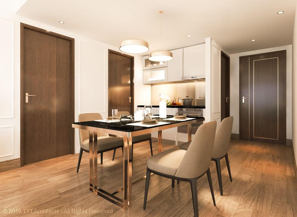 Mẫu phòng bếp tại nhà mẫu Condotel The Sóng