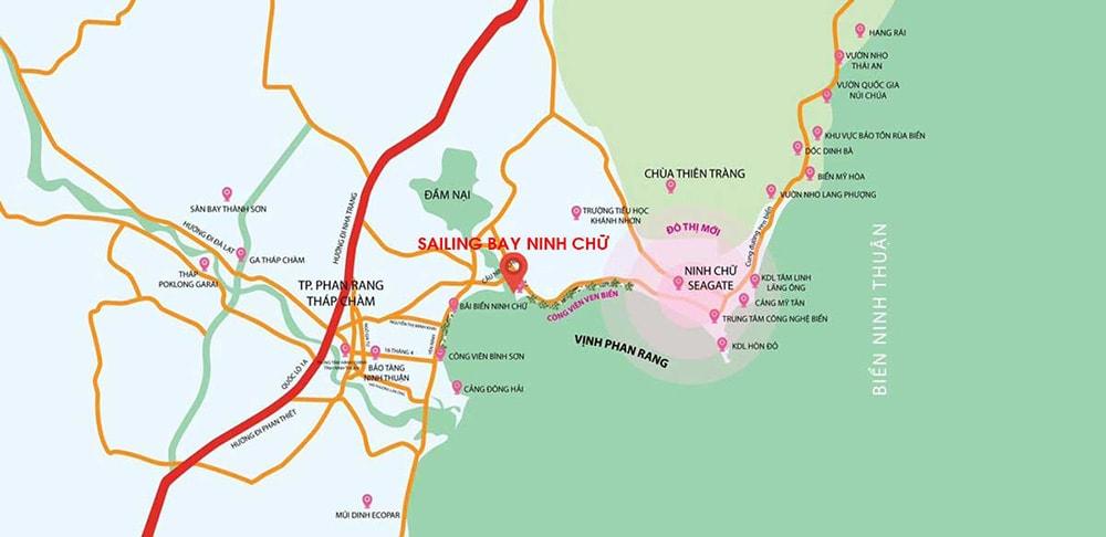 Vị trí dự án Sailling Bay Ninh Chữ