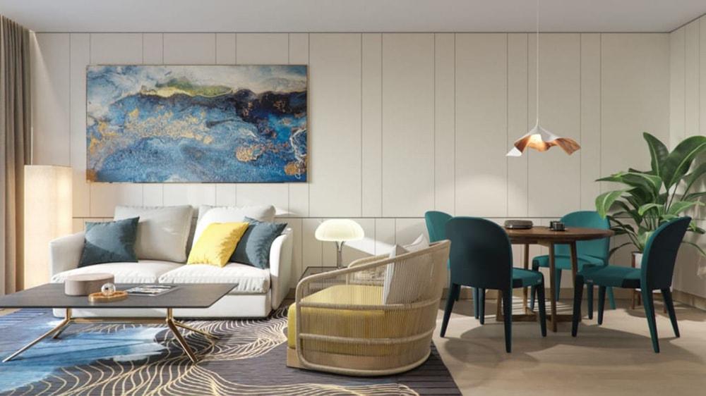 Nội thất phòng khách căn hộ tại dự án Sailling Bay Ninh Chữ