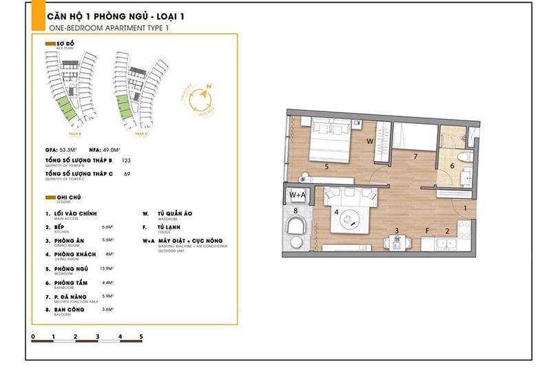 Căn hộ 1 phòng ngủ loại 1 tại dự án Sunbay Park
