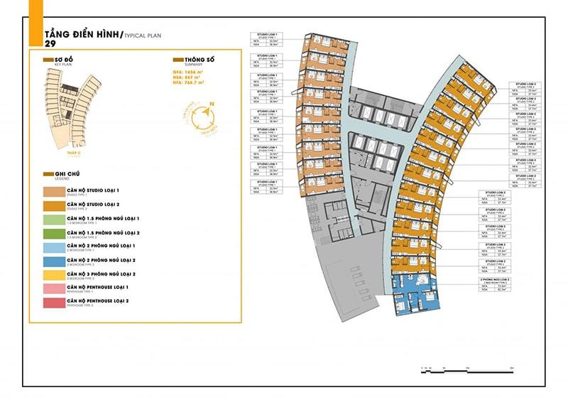 Mặt bằng tầng 29 tòa C dự án Sunbay Park