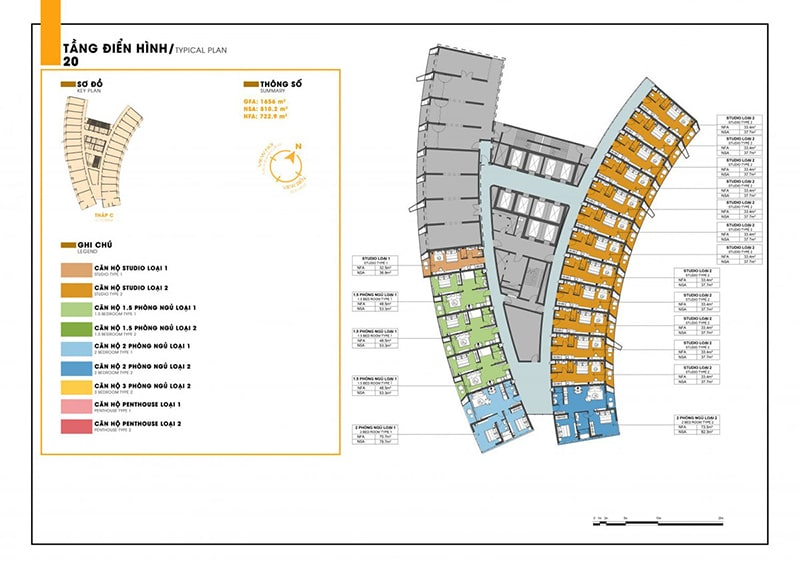 Mặt bằng tầng 20 tòa C dự án Sunbay Park