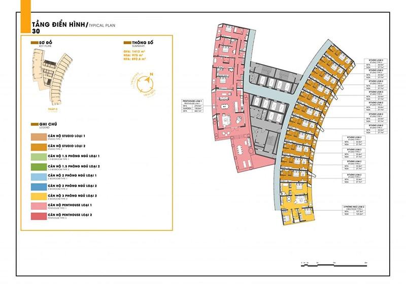 Mặt bằng tầng 30 tòa C dự án Sunbay Park