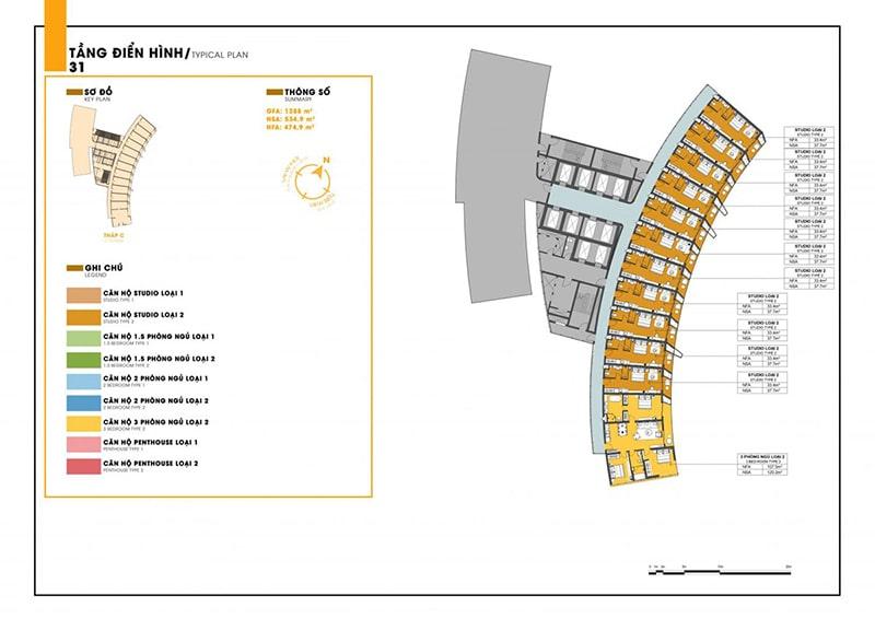 Mặt bằng tầng 31 tòa C dự án Sunbay Park