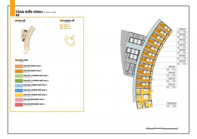 Mặt bằng tầng 32 tòa C dự án Sunbay Park