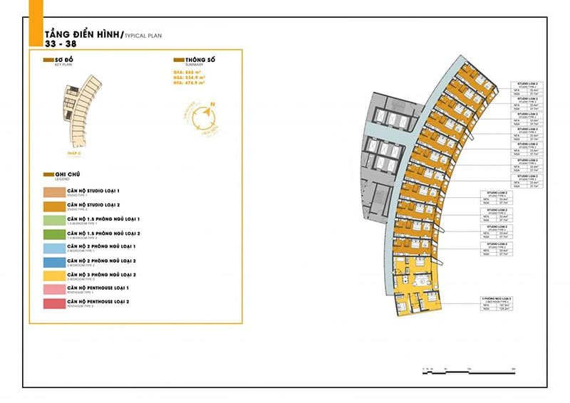 Mặt bằng tầng 33 - 38 tòa C dự án Sunbay Park