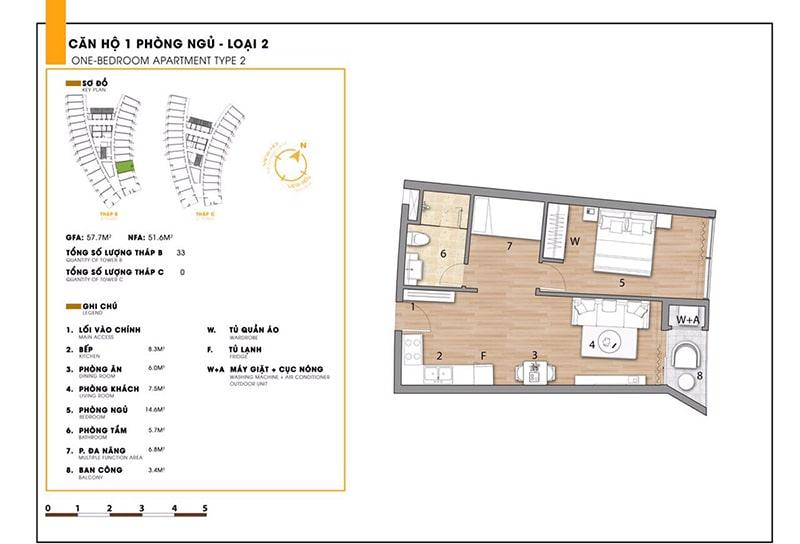 Căn hộ 1 phòng ngủ loại 2 tại dự án Sunbay Park