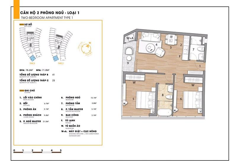 Căn hộ 2 phòng ngủ loại 1 tại dự án Sunbay Park