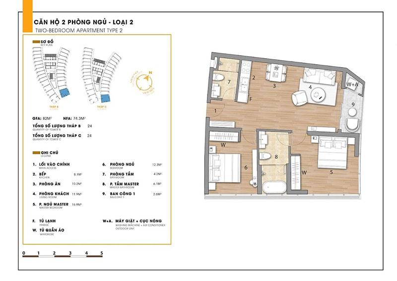 Căn hộ 2 phòng ngủ loại 2 tại dự án Sunbay Park