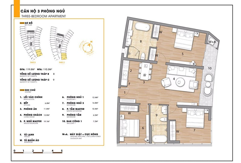 Căn hộ 3 phòng ngủ tại dự án Sunbay Park