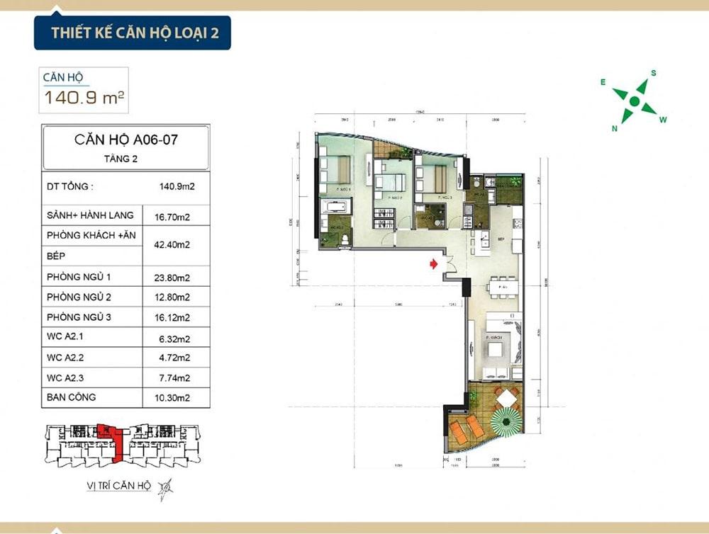 Thiết kế căn hộ loại 2 tại Condotel Aria Vũng Tàu