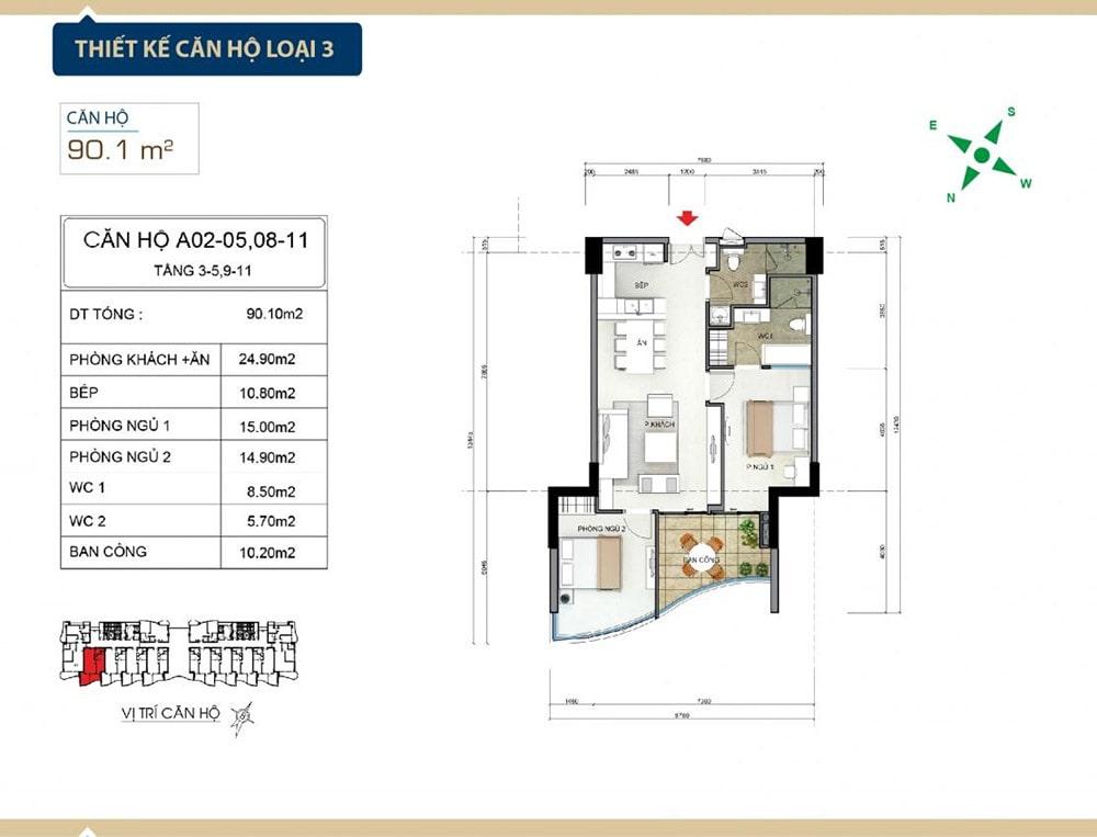 Thiết kế căn hộ loại 3 tại Condotel Aria Vũng Tàu