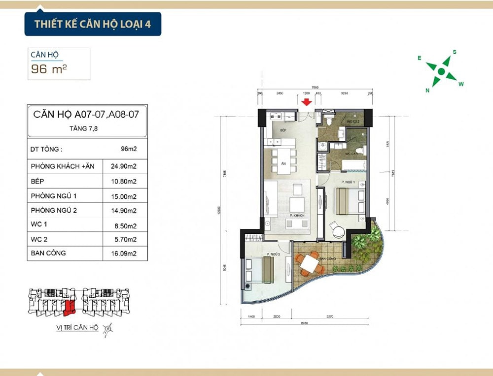 Thiết kế căn hộ loại 4 tại Condotel Aria Vũng Tàu