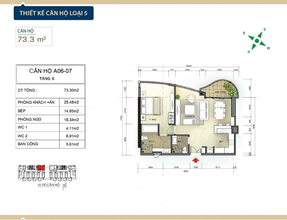 Thiết kế căn hộ loại 5 tại Condotel Aria Vũng Tàu