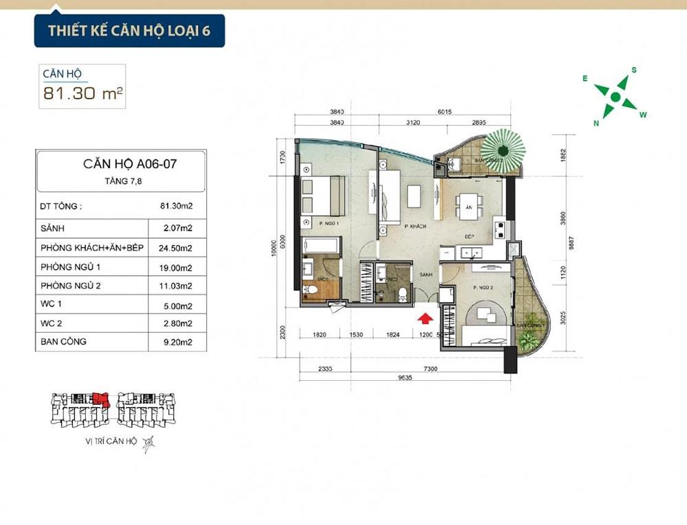 Thiết kế căn hộ loại 6 tại Condotel Aria Vũng Tàu