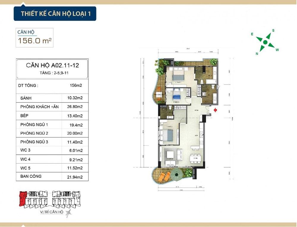 Thiết kế căn hộ loại 1 tại Condotel Aria Vũng Tàu