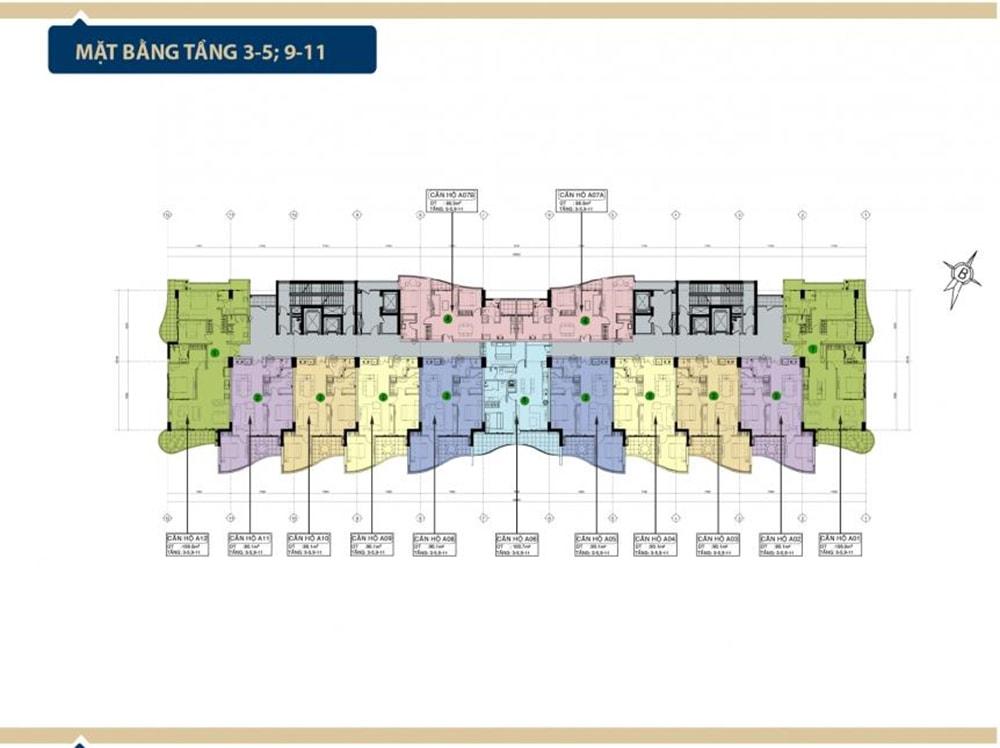 Mặt bằng tầng 3-5, 9-11 tại Condotel Aria Vũng Tàu