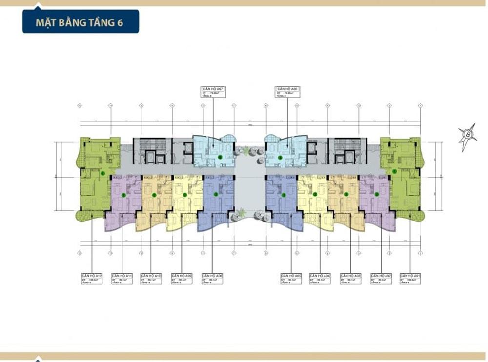Mặt bằng tầng 6 tại Condotel Aria Vũng Tàu
