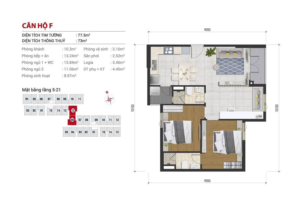 Mặt bằng căn hộ 3 phòng ngủ 77m2 dự án căn hộ Hight Intela