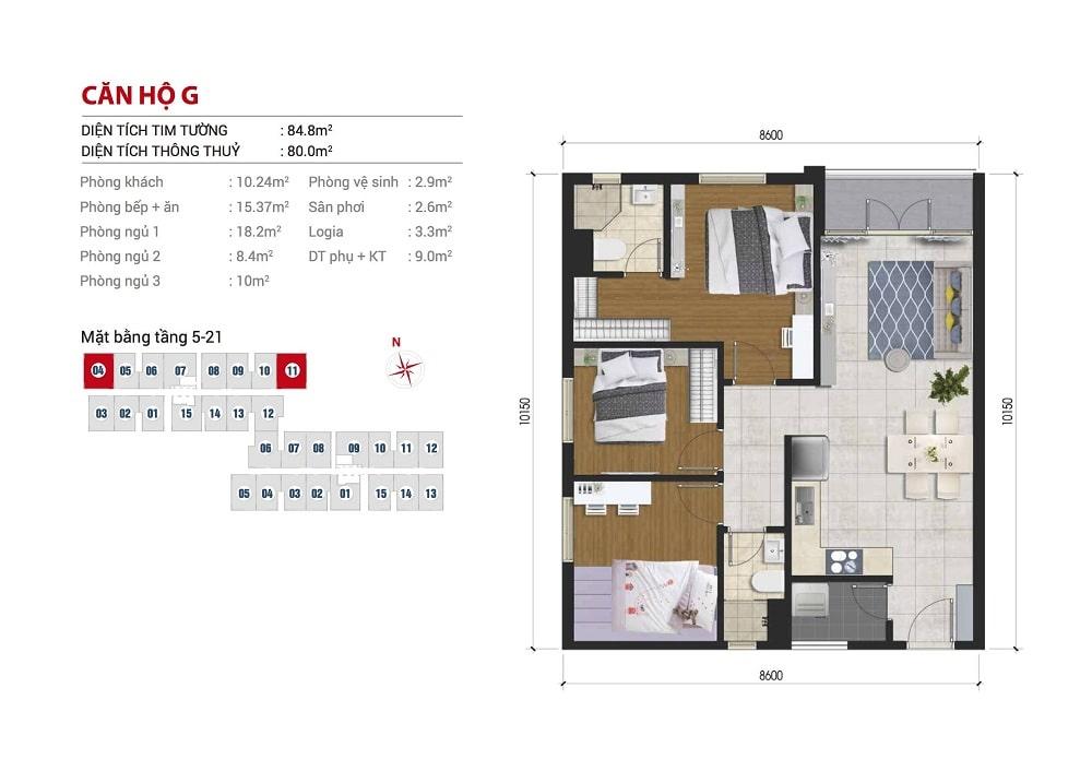 Mặt bằng căn hộ 3 phòng ngủ 88m2 dự án căn hộ Hight Intela