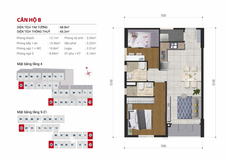 Mặt bằng căn hộ 2 phòng ngủ 68m2 dự án căn hộ Hight Intela