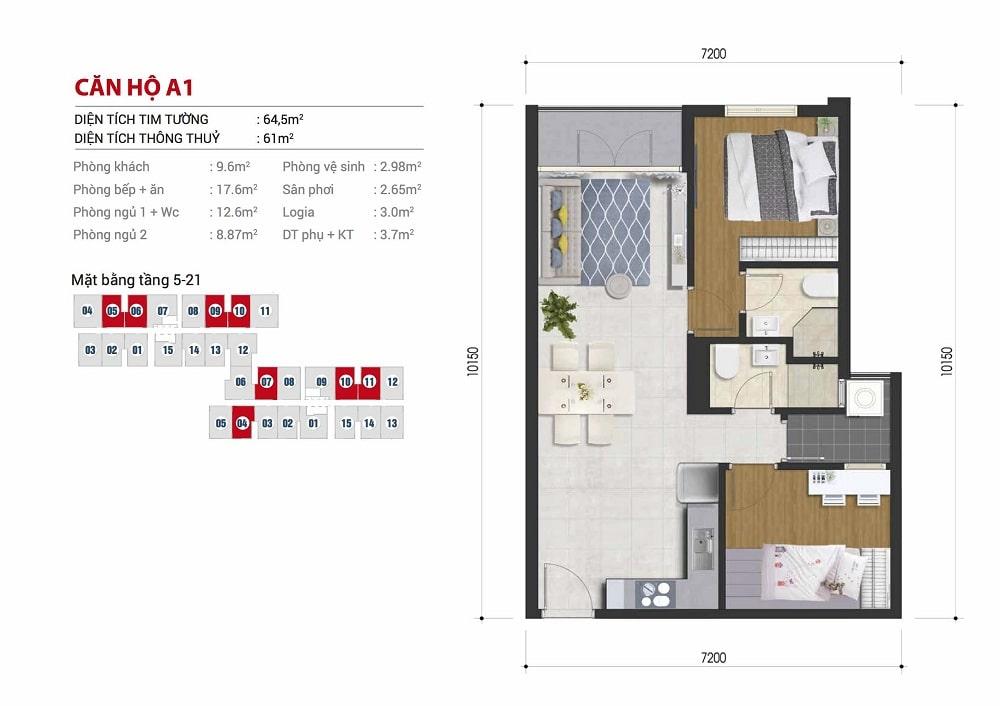 Mặt bằng căn hộ 2 phòng ngủ 64m2 dự án căn hộ Hight Intela