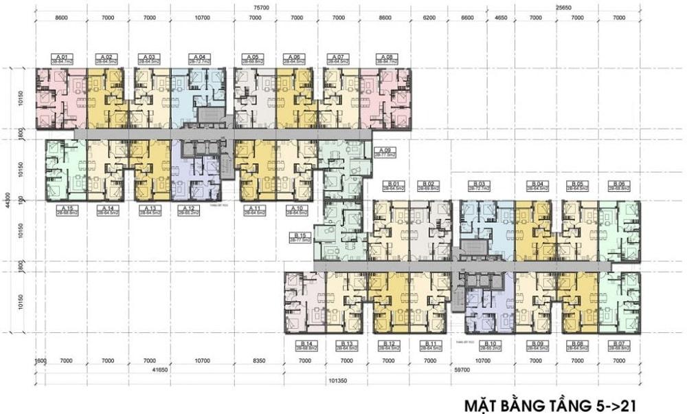 Mặt bằng tầng 5 - 21 dự án căn hộ Hight Intela