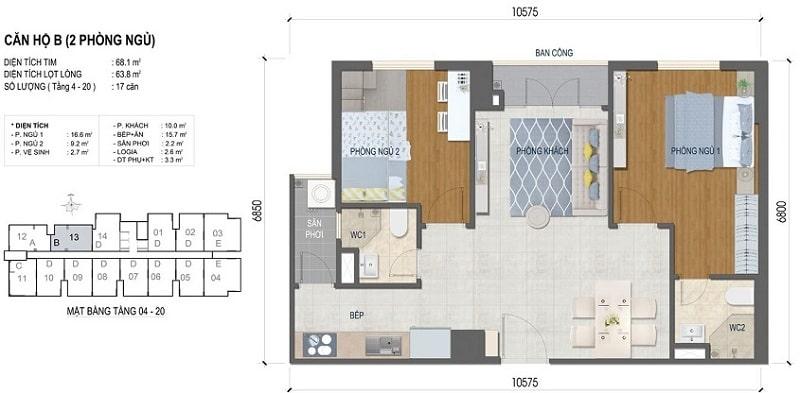 Thiết kế căn hộ West Intela 2 phòng ngủ – Loại B- 68 m2