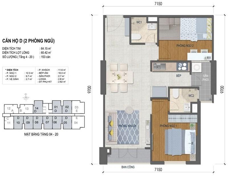 Thiết kế căn hộ West Intela 2 phòng ngủ – Loại D- 64,15 m2